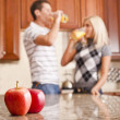 Young Couple Drinking Glass of Orange Juice — Stock Photo