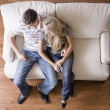 Stock Photo: Overhead View of Couple on Love Seat