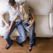 Overhead View of Couple on Love Seat — Stock Photo #2627930