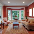 Living Room Interior With Bay Window - Stock Photo