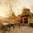 Sunlit Patio With Stone Fireplace - Foto de Stock  