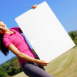 Girl With Poster — Stockfoto