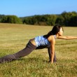 Girl Practicing Yoga In Field — Stock Photo #2628810