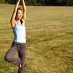 Mädchen üben Yoga im Feld — Stockfoto