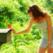 Girl Checking Mail — Stock Photo