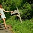 Girl Checking Mail — Foto de Stock