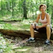 Mature Woman Runner Resting — Stock Photo