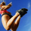 Low Angle Woman Runner — Stock Photo