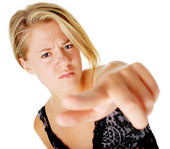 Angry Woman In Dress On White — Stock Photo