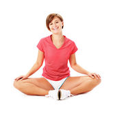 Young Fitness Woman in Red Shirt Stretching, Iso — Stock Photo
