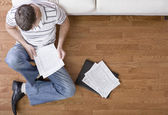 Young Man Doing Taxes — Stock Photo