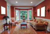 Living Room Interior With Bay Window — Foto de Stock
