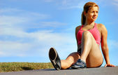 Resting Workout Woman — Stock Photo