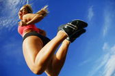 Low Angle Woman Runner — Stock fotografie