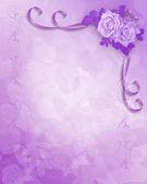 Rosas de lavanda de convite de casamento — Fotografia Stock