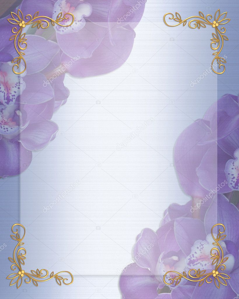 Illustration and image composition for background, blue, lavender orchids floral border, wedding invitation or template with gold accents, copy space  Stok fotoraf #2004584