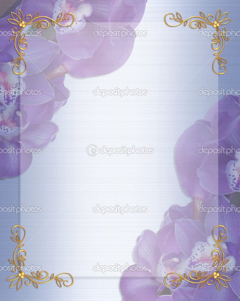 Illustration and image composition for background, blue, lavender orchids floral border, wedding invitation or template with gold accents, copy space  Foto de Stock   #2004584