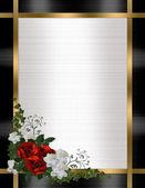 Bröllop inbjudan gränsen röda rosor — Stockfoto