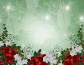 Wedding invitation border red roses — Stock Photo