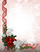 結婚式の招待状の境界線の赤いバラ — ストック写真