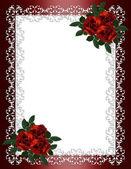 Wedding invitation border red roses — 图库照片