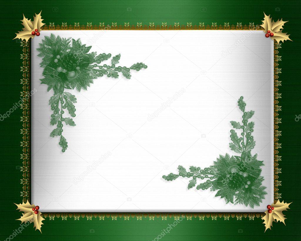 christmas border green satin elegant — stock photo