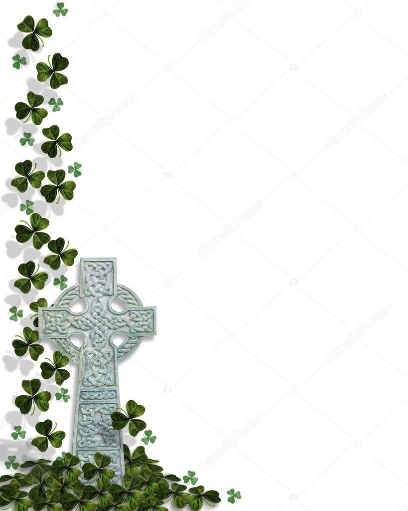 Celtic Cross With Shamrock Shamrocks, celtic cross