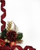 圣诞丝带边框松果 — 图库照片