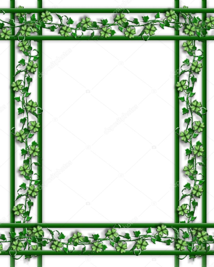 3D Illustration for St Patricks Day Card, background, border or frame with ivy, shamrocks and copy space. — Стоковая фотография #2076253