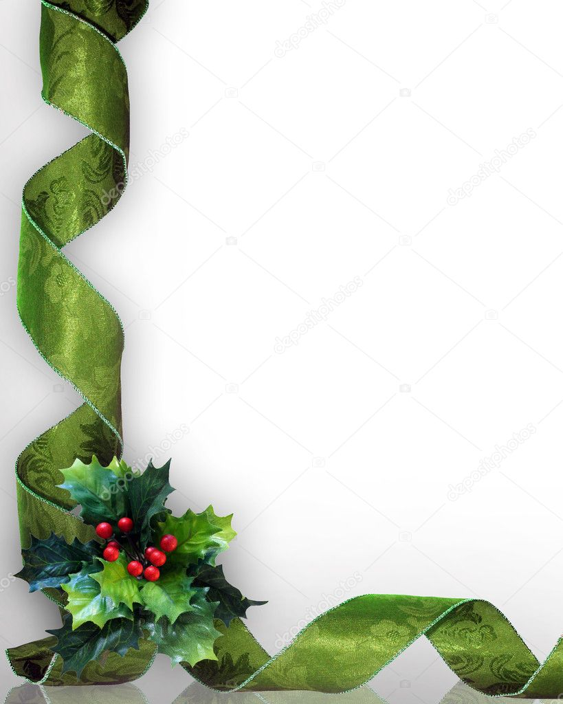 Christmas design with holly leaves and green damask ribbons for greeting card, invitation or background. Image composition with copy space..  Stockfoto #2077115