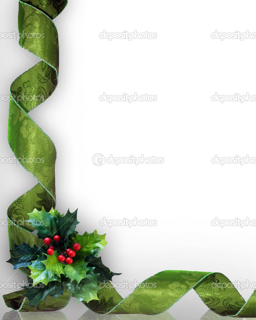 Christmas design with holly leaves and green damask ribbons for greeting card, invitation or background. Image composition with copy space..  Stock fotografie #2077115