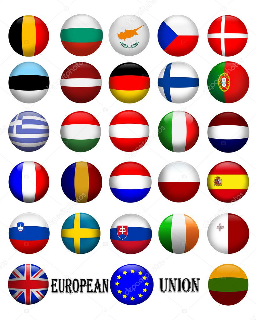 Illustrated banner button flags in glassy orbs of the flags of countries in the European Union, EU — ストック写真 #2077188