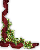 Christmas Border Red ribbon and holly — Stock Photo