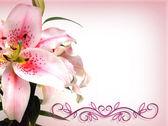 Invitación floral asiático lirio — Foto de Stock