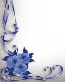 Rosas azuis de fundo de convite de casamento — Foto Stock