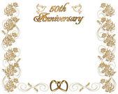 Bruiloft verjaardag uitnodiging 50 jaar — Stockfoto