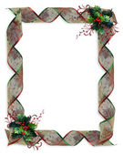 Christmas Ribbons border holly — Stock Photo