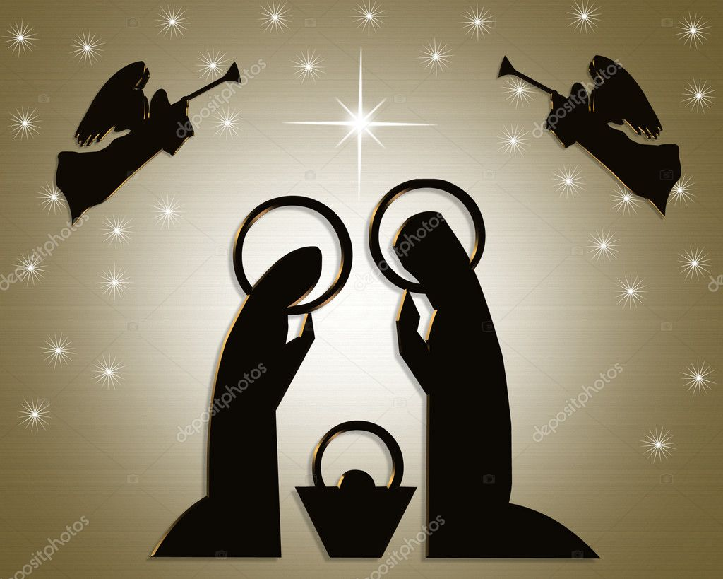 Christmas Abstract Nativity scene on gold background for greeting card, stationery or holiday invitation. — Стоковая фотография #2088130