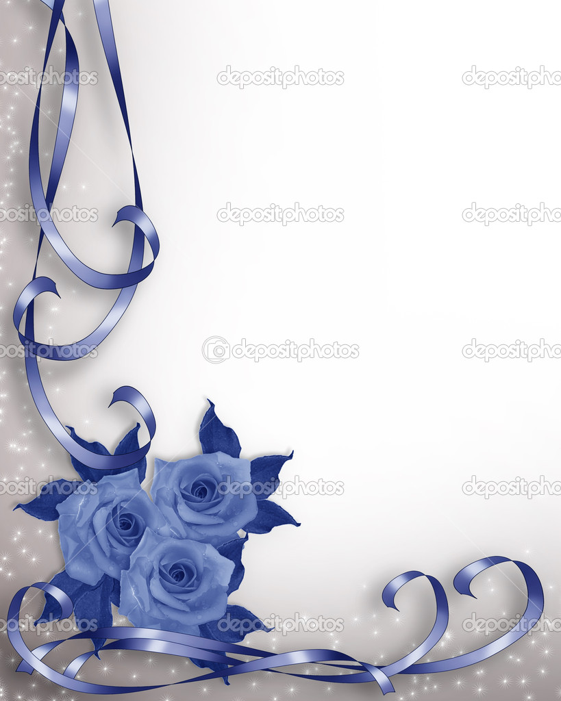 Illustrated Ribbons and roses in blue design element for wedding invitation background, border or frame with copy space. — Stock Photo #2088525