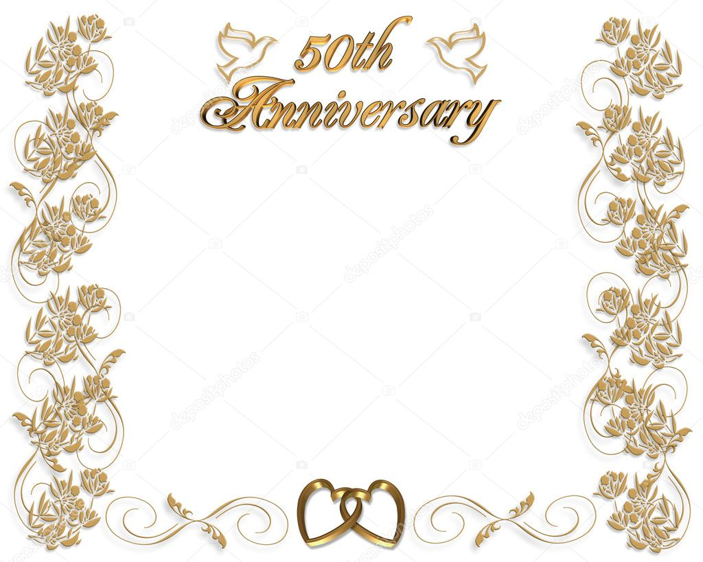 3D Illustrated  design for 50th wedding Anniversary card or invitation border with copy space. — Stock Photo #2088531