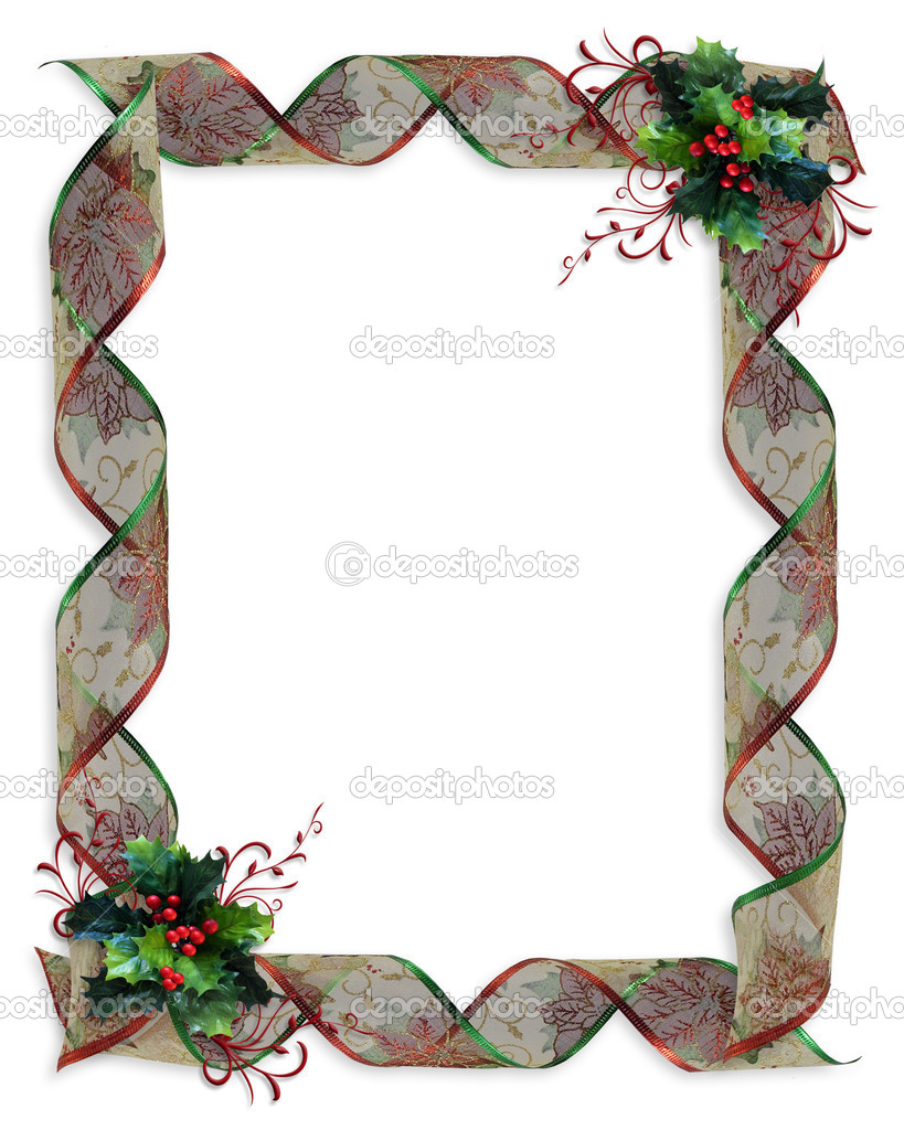 Image and illustration Composition of Christmas curled decorative ribbon frame or border with holly and copy space,  — Stock Photo #2088590