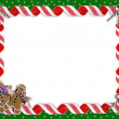 Christmas Border Cookies and Candy — Stock Photo