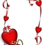 Valentine Hearts and Ribbons border — Stock Photo