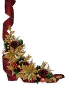 Christmas border ribbons gold poinsettia — Stock Photo