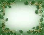 Christmas Border Holly gold accents — Stock Photo