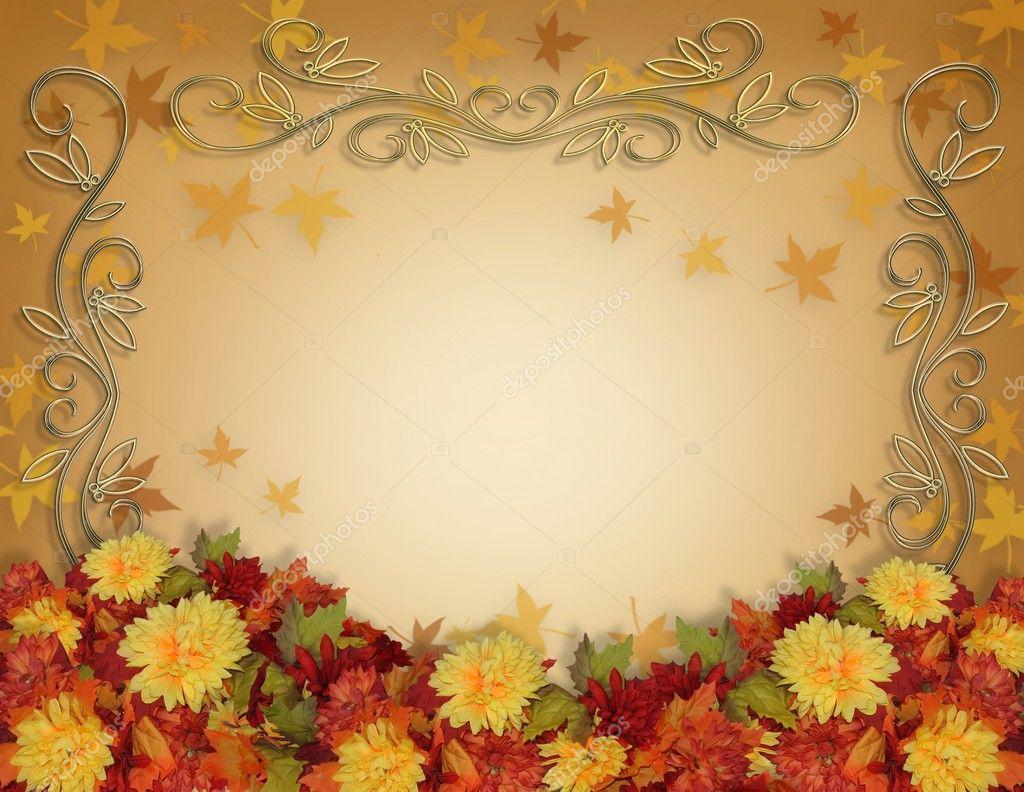 Thanksgiving fall leaves flowers border stock image
