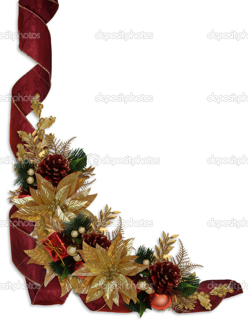 Image and Illustration composition for elegant Christmas holiday background, border, greeting card template with gold poinsettias, ribbons, copy space — Stock Photo #2090344