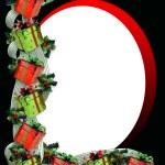 de giften van Kerstmis grens en holly — Stockfoto