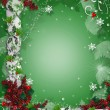 Christmas border ribbons elegant holly — Stock Photo