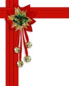 Christmas border Bells Holly ribbons — Stock Photo